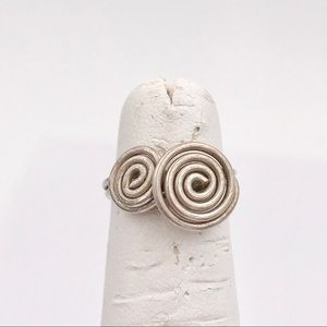 Modernist Vintage Spiral Abstract Midi Pinky Ring